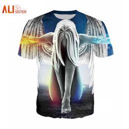 Wholesale Wholesale Galaxy Shirts - Alisister Thinner Angel 3D T Shirt Men Women Funny Print Rebirth Angel Galaxy Tee Shirt Slim Summer Undershirt Hip Hop Camiseta