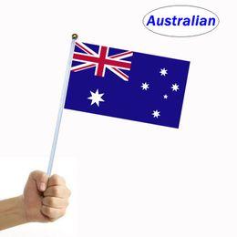 Vague australienne main falg drapeau de signalisation de la main bannière du pays shake main avec mât petit 14 cm * 21 cm pour la célébration du festival décorer ? partir de fabricateur