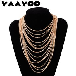 Wholesale Jewelry Fasteners Wholesale - whole saleYAAYOO Multilayer Tassel Yellow Color Sweater Chain Statement Necklace Fashion Women Slide Fastener Jewelry For Gift Party
