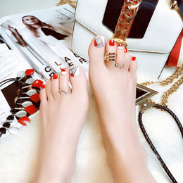 Canada 24pcs / lot filles pied ongles avec 2g colle été sexy femmes faux ongles patchs couleur rouge ongles supplier sexy foot girl Offre