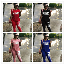 Wholesale Eye Pants - Pink Sweat Long Pant Suits Women Set New Loose Casual Autumn Letter Print Tracksuits Women Workout Outfits Free Shipping