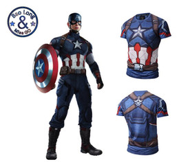 Hommes drôles t chemises cintrées en Ligne-Fashion Captain America 3d Print Slim Fit T-shirt Men Short Sleeve Funny Tee Lot