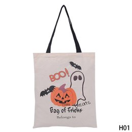 Wholesale Recycled Cotton - Halloween Gift Bag Large Sacks Canvas Cotton Drawstring Children Candy Bag Party Pumpkin Tote Halloween