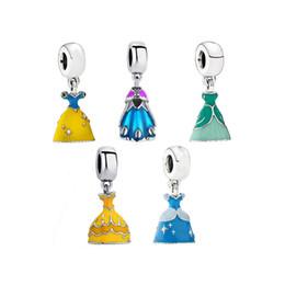 Perle pendent online-Prinzessin Dress DIY Perlen Charms für Armband und Halskette Pendent Lose Emaille Perlen Modeschmuck Großhandel Drop Shipping