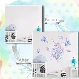Wholesale boys wall art stickers - 50*50cm Rhinestone Unicorn Wall Sticker Decal Art Girls And Boys Bedroom Nursery Home Decor Unicorn Wall Sticker CCA9328 60pcs
