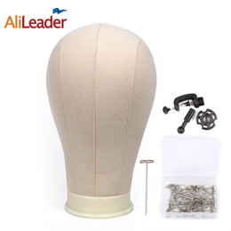 Wholesale Head Stands For Wigs - Alileader Canvas Block Head Manequin Head Wig Display Styling With Mount Hole Plain Face with Stand for Wigs Hat