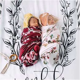 Wholesale cotton crib blankets - INS Baby Two pieces bed set pillow case bed sheet photography background props baby photo fabric backdrops infant blanket flower print BHB39