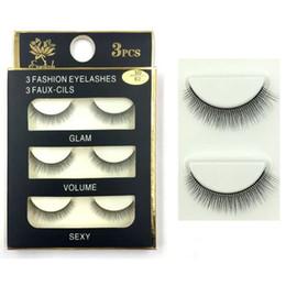 synthetic false eyelashes Australia - wholesale Fashion 3D False faux mink Eyelashes Natural Lash Black Full Strip Fake Lashes Makeup 3D synthetic eyelashes