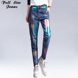 Herbst Frühling koreanische hohe Taille lose Pluderhosen Vintage Denim Jeans  Blumendruck große Größe gemalt Muster Jean XS XXXL 6XL 7XL e12f418d3d