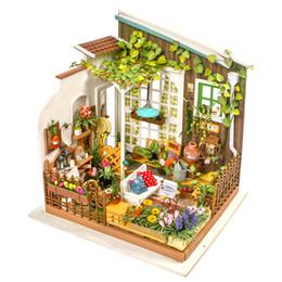 Wholesale Dollhouse Miniature Flowers - DIY Doll House Miniature Dollhouse With Furnitures Wooden House Toys For Children Kathy's Flower House Robotime DG108