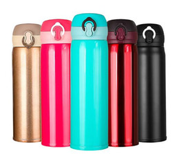 Wholesale Thermal Bottle Warmers - 500ml Portable Thermos Bottle Girl Boy Stainless Steel Water Bottle Vacuum Flasks Insulated Cup High Capacity Student Travel Mug