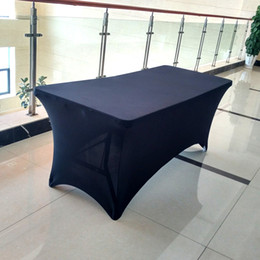 Wholesale Spandex Table Covering - Black Rectangle Bar Table Covers Spandex Lycra Cocktail Table Covers Party Wedding Decoration Stretch TableCloth