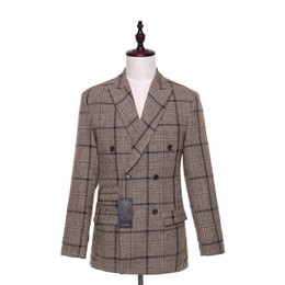Wholesale Blaser Mens - Spring Autumn Mens Casual Blazers Jacket Cotton Slim England Suit Blaser Masculino Male Mens Dress Coats Size XS-4XL Custom Made