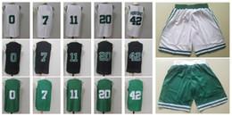 Wholesale Men S Fashion Shirts - #11 #0 #7 #42 Men's Basketball Jerseys 2018 New season Fashion Player version Mens polo shirt white Black Green Men Sport Jersey