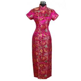 Rose cheongsam en Ligne-Satin Long Halter Cheongsam Qipao Élégante Robe De Fleur Rose Traditionnelle Chinoise S M L XL XXL XXXL