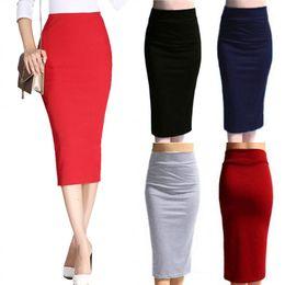 Autumn Winter Women Pencil Skirt High Waist Cotton Solid Color Stretch Elastic Slim Business Ol Split Bodycon Skirts H9 Business Skirt Length Deals