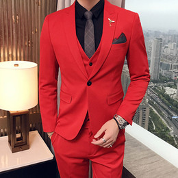 summer wedding pants suits Coupons - Three Piece Red Evening Party Men Suits 2018 Peaked Lapel Trim Fit Custom Made Wedding Tuxedos (Jacket + Pants + Vest)