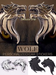 Wolf autos online-Paar 3D Wolf Kopf Muster aus massivem Metall Auto Motorrad Aufkleber Emblem Abzeichen