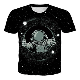 Hip hop novo do teste padrão da camisa de t on-line-Wholesale High Quality New Summer Unisex T-Shirt Astronaut Pattern Hip-hop Punk Summer Short Sleeve Personality Ypf125