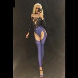 2019 tänzer kostüme für frauen Frauen Sexy Jeans Printed Bosysuit funkelnde Kristalle Overall Nachtclub-Partei-Kostüm Bühnengarderobe Sänger Tänzer Bling Kleidung günstig tänzer kostüme für frauen