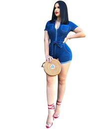 f27a40357310 Women Denim Jumpsuit Rompers Deep V neck Sexy Jeans Short Sleeve Overalls  Bodysuit Designer clothes night club skinny jumpsuit sashes 5555 discount  sexy ...