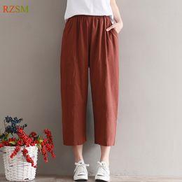 9a3c2042ae Pantalones casuales de verano Mujeres Pantalones de pierna ancha de algodón  de lino Pantalones de cintura suelta de gran tamaño sólido Mujeres de  cintura de ...