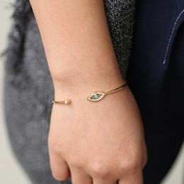 glückssteinschmuck Rabatt Gold Color Round Shape Lucky Evil Eyes Turkish Hamsa Hand Open Bangle&Bracelet bezel blue stone cz women jewelry dropshipping