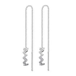 Wholesale Drop Shape Gem - Fashion Long Tassel Drop Earrings For Woman, Shiny Gem-studded Long Earrings Geometric Wave Shape Dangle Earring