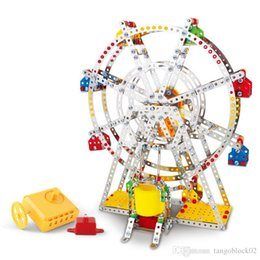 Wholesale model construction toys - 3D Assembly Metal Model Kits Toy Ferris Wheel With Music Box Building Puzzles 954pcs Accessories Construction Play Set