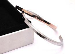 Wholesale American Fine Jewelry - Rose Gold DW Cuff Bangle Bracelet Engraved Logo Lettering Titanium Steel Bangle Classic Luxury Brand Bracelets Fine Jewelry