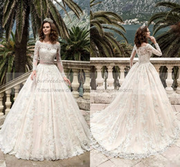 Wholesale turkey cover - 2017 Long Sleeve Full Lace Wedding Dresses Turkey Boat Neck A Line Country Western Sash Beads Wedding dress Bridal Gowns