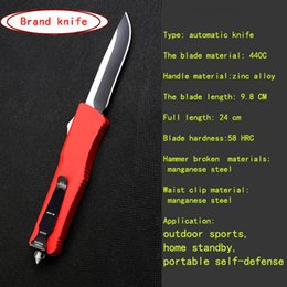 Wholesale Knife Hrc - Brand knife high quality multi-purpose Tactical outdoor camping knife automatically Spring telescopic portable self-defense knife 58 HRC RED