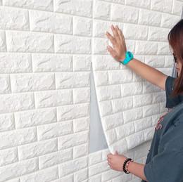 Cubiertas de televisión online-Patrón de pared de ladrillo 3D Pegatinas de pared DIY autoadhesivas pegatinas de pared sala de estar decoración de espuma impermeable que cubre el papel pintado