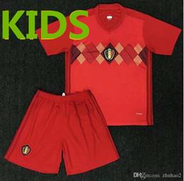 Wholesale world games - 2018 Home Games World Cup Belgium Football Shirt Red Kid LUKAKU FELLAINI E.HAZARD KOMPANY DE BRUYNE Belgian Men's Football Shirt