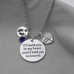 Оптовая 12 шт. / лот я буду держать вас в моем сердце, пока я держу вас в небе очарование ожерелье след крыла Ожерелье для любителей подарок от Поставщики оптовые отпечатки сердца