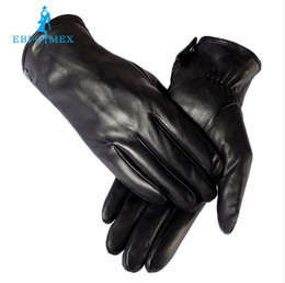 Wholesale Mens Black Leather Gloves - warm winter mens gloves ,Genuine Leather,Black leather gloves,male leather gloves,winter gloves men, Free shipping