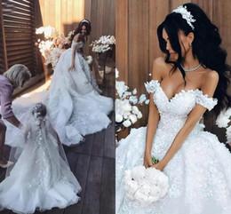 Wholesale Ball 3d Model - Luxury Saudi Dubai Floral Flower Lace Wedding Dresses Appliques Ball African Country Custom Vestido de novia Formal Bridal Gown Arabic
