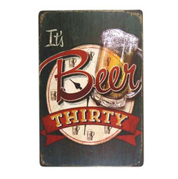 Metall wand kunst dekor hängen online-DL-Es ist Bier dreißig Metall Malerei Club Bar Home alte Wandkunst hängen Logo Plaque Decor