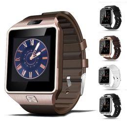 jugar relojes Rebajas Smartwatch para Android IOS Iphone Wearable Reloj inteligente DZ09 con Bluetooth Reproducción de música Cámara SIM TF Tarjeta Dial Relojes de pulsera DHL gratis