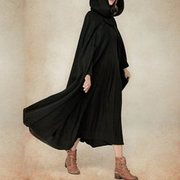 Wholesale Ladies Hooded Cloaks - CELMIA Vintage Ladies Solid Button Hooded Maxi Coat Open Front Cardigan 2018 Winter Leisure Retro Irregular Long Cloak Poncho