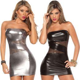 atraer a las mujeres Rebajas Nuevas mujeres sin mangas Sexy Charol Bodycon sin tirantes Clubwear Party Stripper Mini vestido -MX8