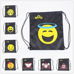 Wholesale Cartoon String Backpacks - DHL Delivery New Fashion Emoji Oxford Drawstring Backpacks Waterproof Storage Bags Unisex Travel Beach Rucksack Bag 12 Style