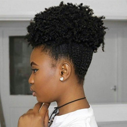 Wholesale Curly Remy Hair Styles - Hot style Afro Short Kinky Curly Ponytail Bun cheap hair 100g 120g 140g Remy Virgin Human hair ponytail for black women