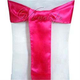 decorazioni da party fucsia Sconti All'ingrosso-Spedizione gratuita 50pcs Fuchsia Satin Chair Sashes Bows 15cmX275cm Decorazioni per feste di matrimonio