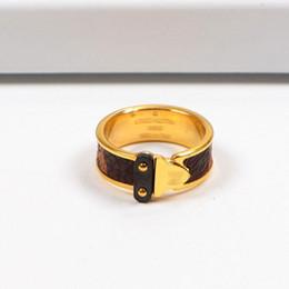 Clips de los amantes online-Marca de moda anillos de titanio anillo de acero de lujo de lujo 18K oro rosa clip de plata anillo de cuero para hombres y mujeres amantes de regalo