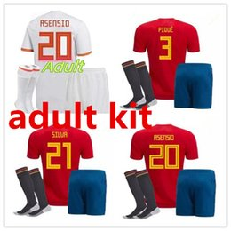 gold cup socks 2018 - world cup Spain adult Jersey full set with socks 2018 ISCO INIESTA ASENSIO MORATA home away soccer shirt Football uniforms sales Spain kits