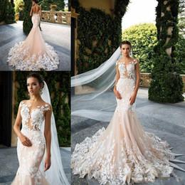 Wholesale New Design Skirt - Champagne 2018 New Design Milla Nova Sheer Neck Mermaid Wedding Dresses Applique Lace Court Train Formal Wedding Birdal Dress Custom Made