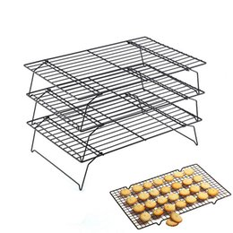 2019 кухонные стеллажи Urijk New  3Layers Baking Inserts Kitchen Pastry Stand Stainless Steel Nonstick Cooling Rack Cake Cookies Bread Bakeware дешево кухонные стеллажи