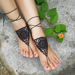 Wholesale Shoe Anklets - Crochet white barefoot sandals Nude shoes Foot jewelry Beach wear Yoga shoes Bridal anklet bridal beach accessories white lace sandals S202