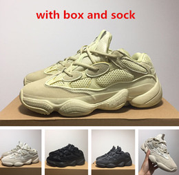 Wholesale free boxes - 500 Blush Desert Rat 500 Super Moon Yellow running shoes 500 Utility Black sneaker sports shoes with box free shipping